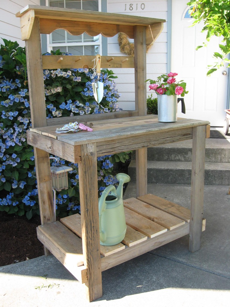 Simple Rustic Potting Bench Dream Garden Woodworks