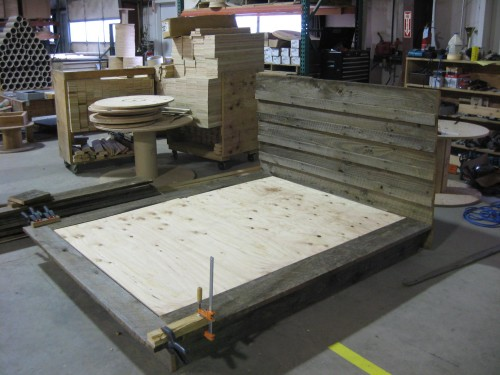 Barn Board Bed during Construction