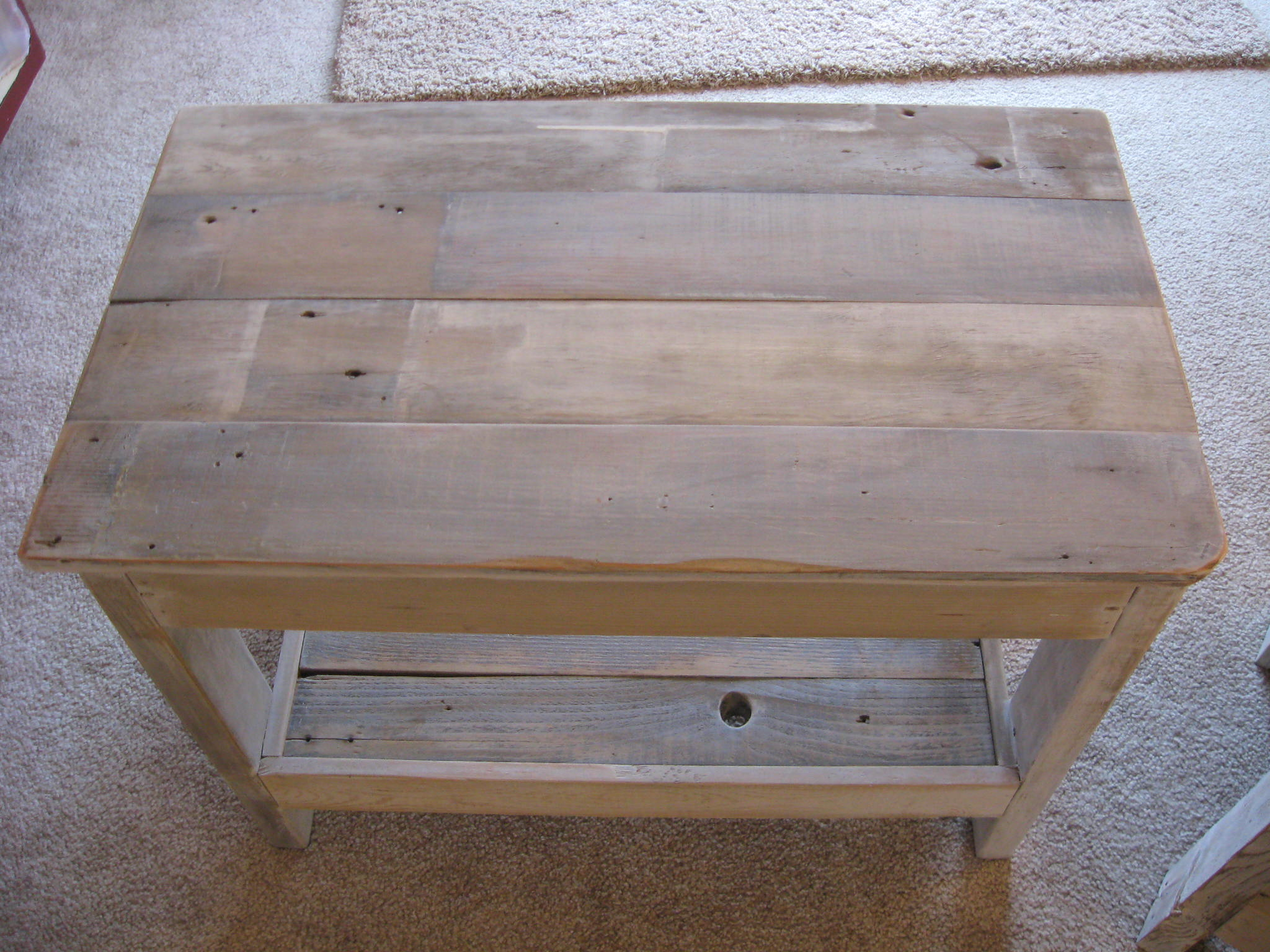 white washed end table   dream garden woodworks