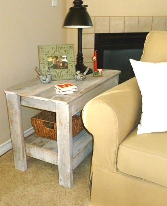 End Table - White Washed Reclaimed Lumber