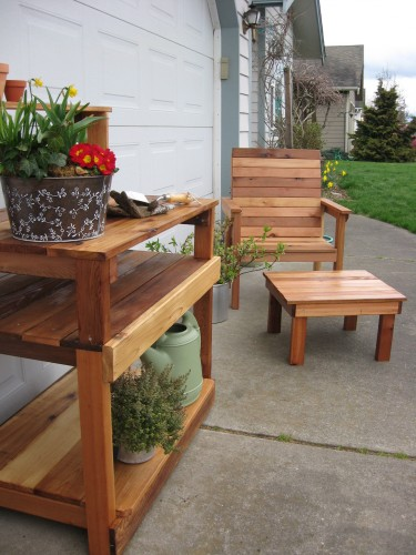 All Cedar Stained Potting Bench Dream Garden Woodworks