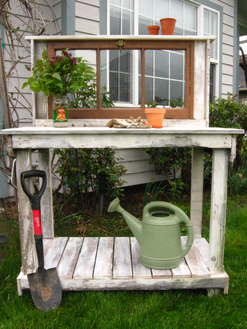 Shabby Chic with Vintage Window Potting Bench