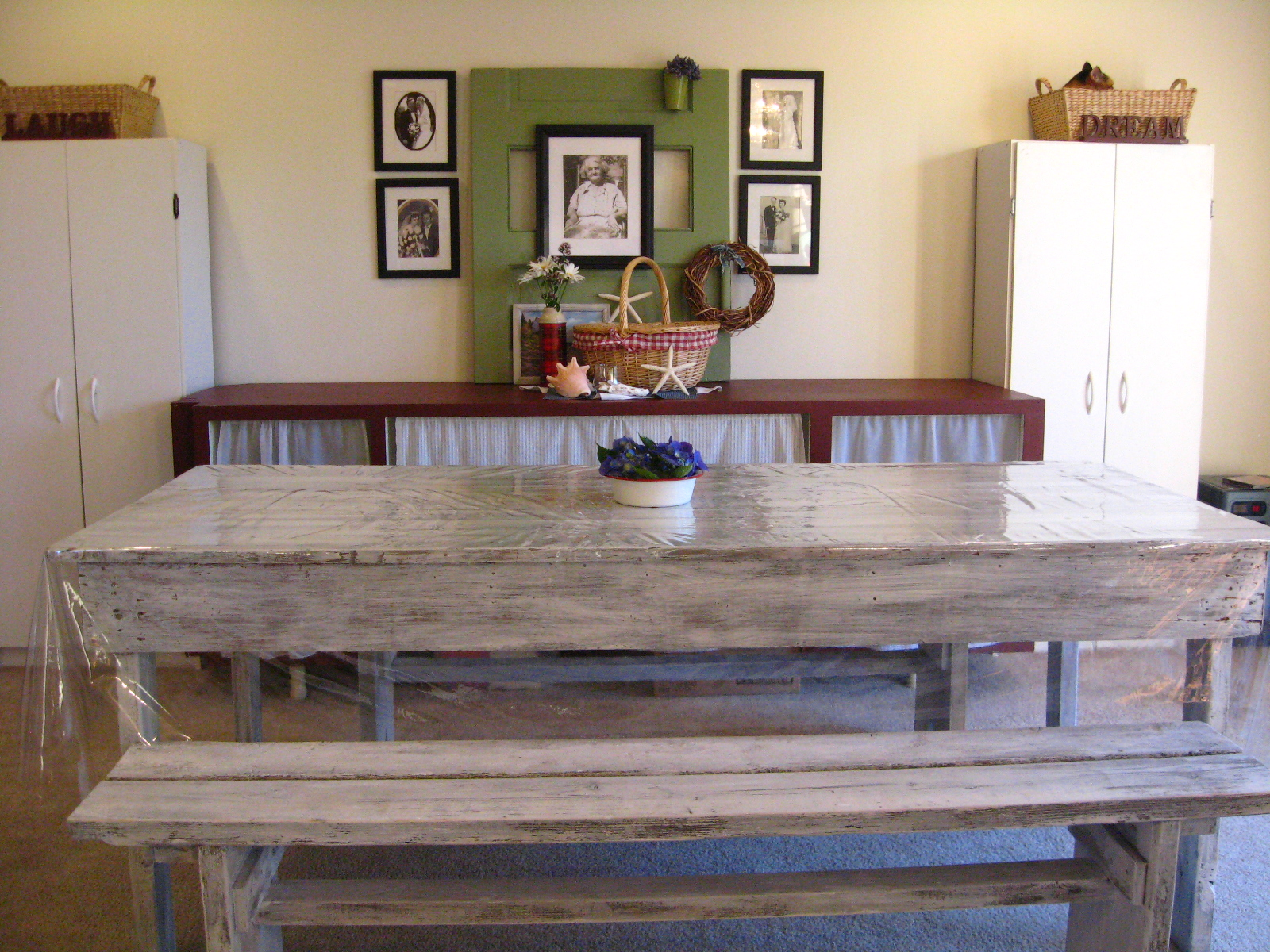 Shabby Chic Table & Benches