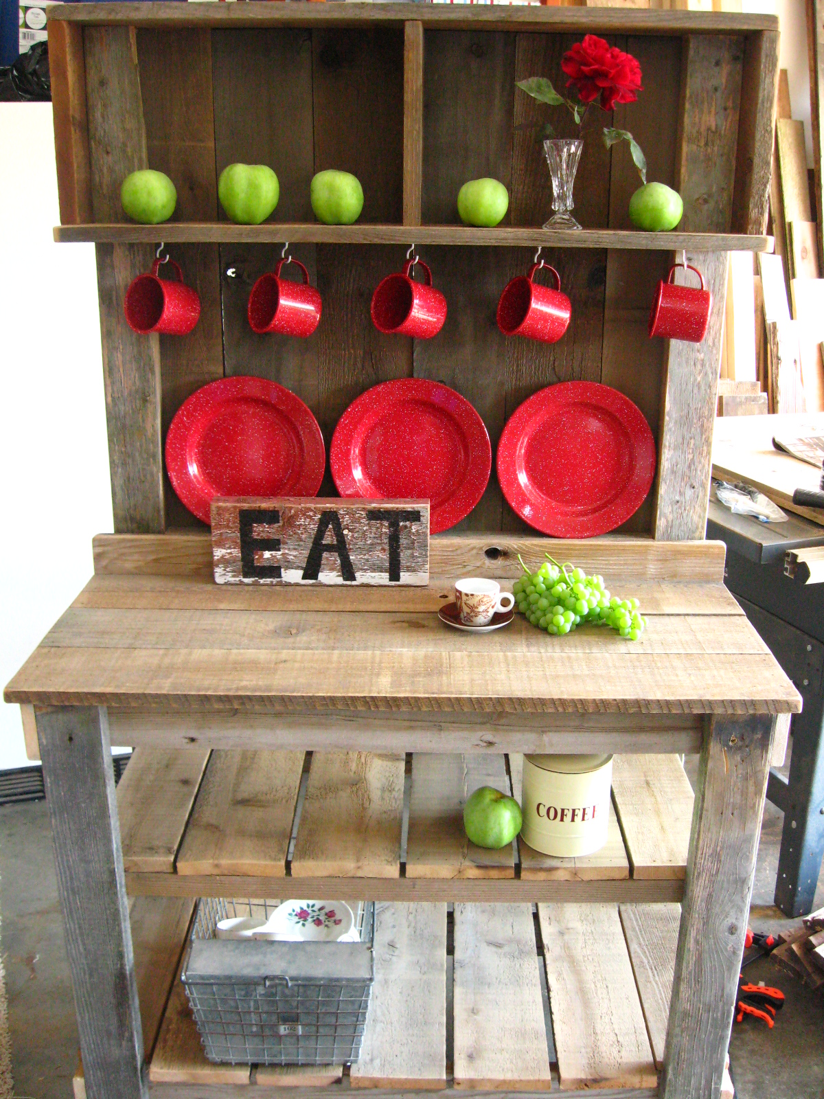 Barnboard Hutch with 2 Cubbies & Cup Hooks