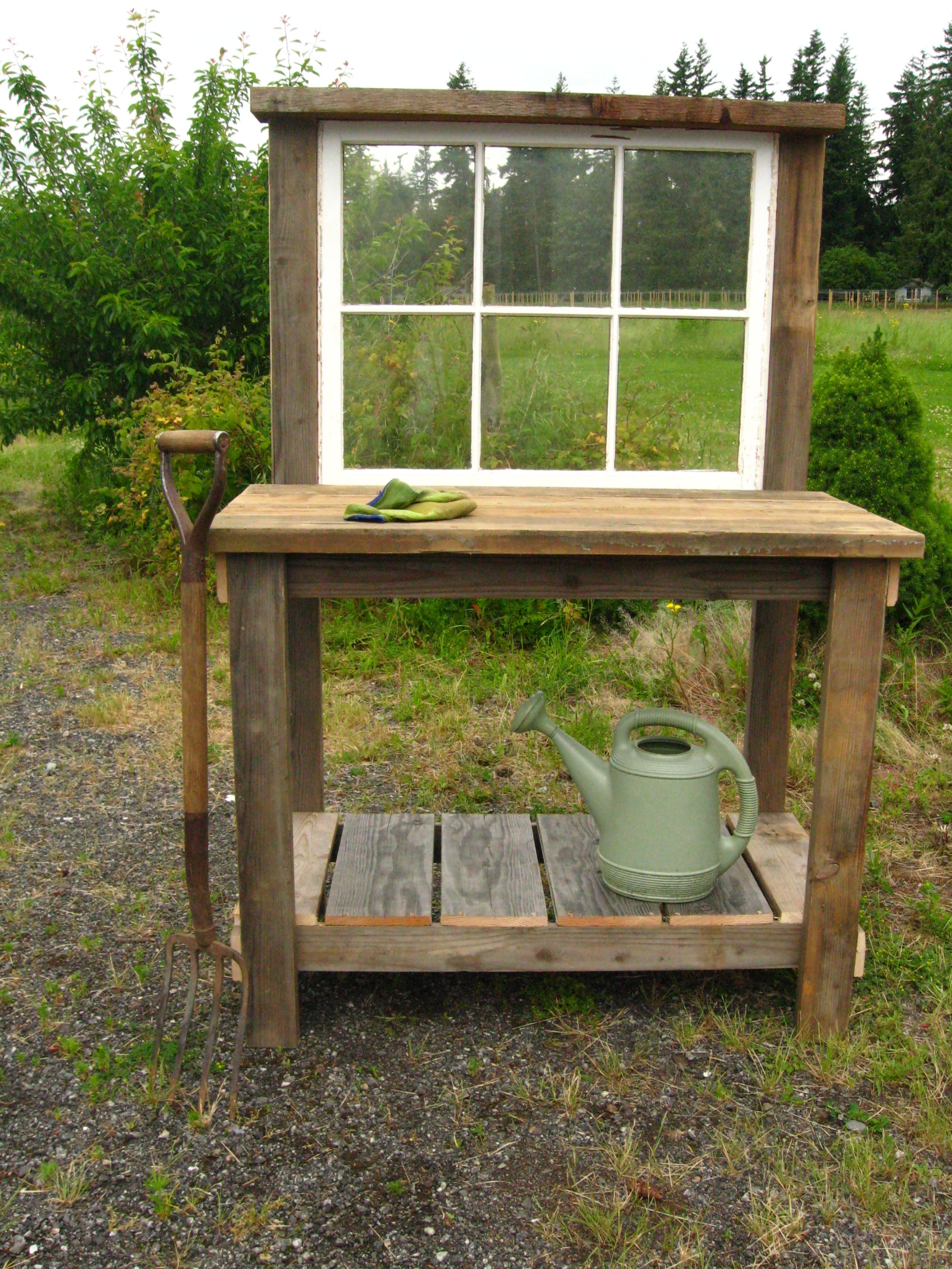 Rustic potting bench with an old window 130 dream garden woodworks Outdoor potting bench