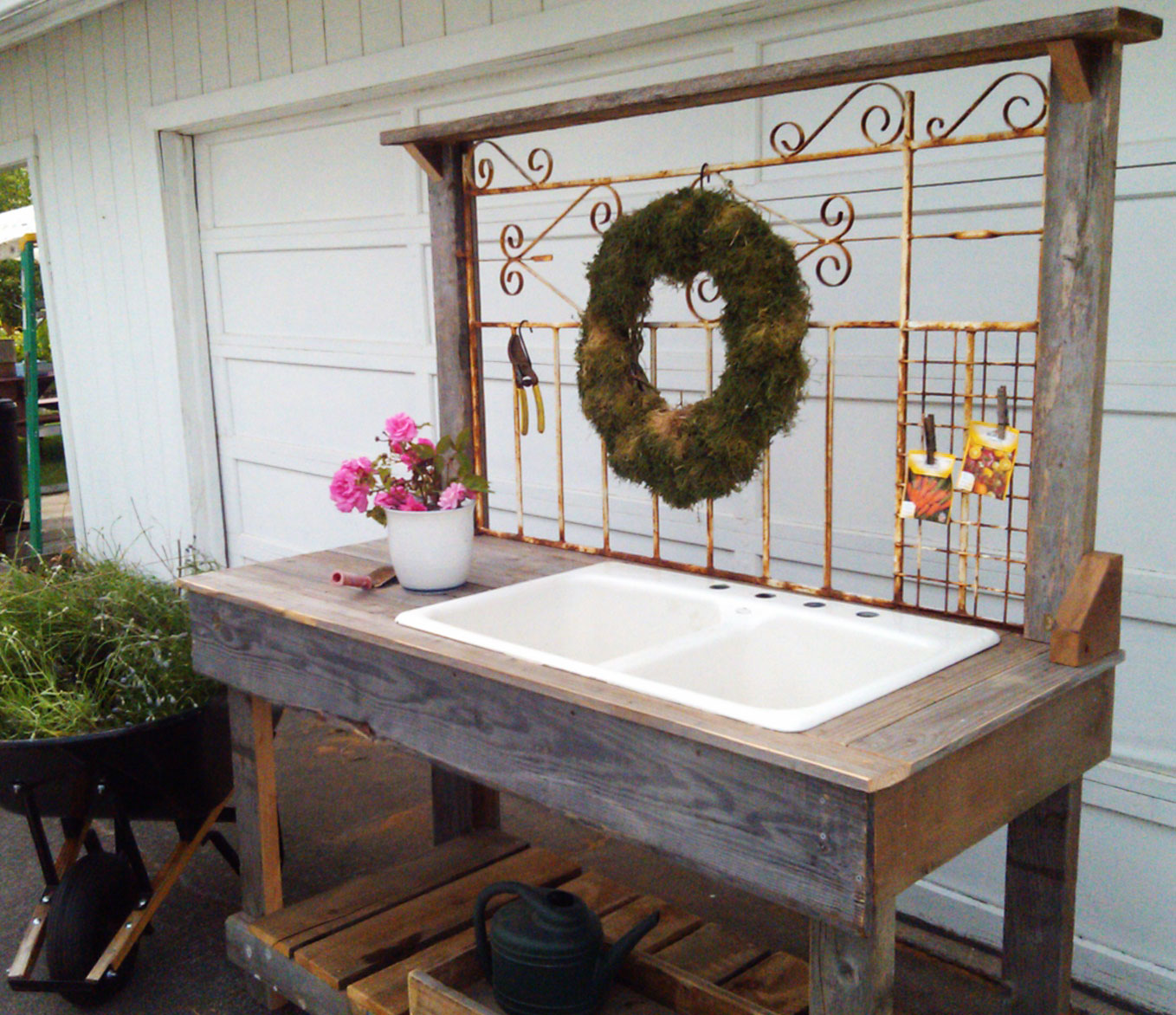 White Iron Wrought with Sink Dream Garden Woodworks