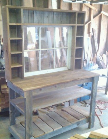 Hutch with window and cubbies