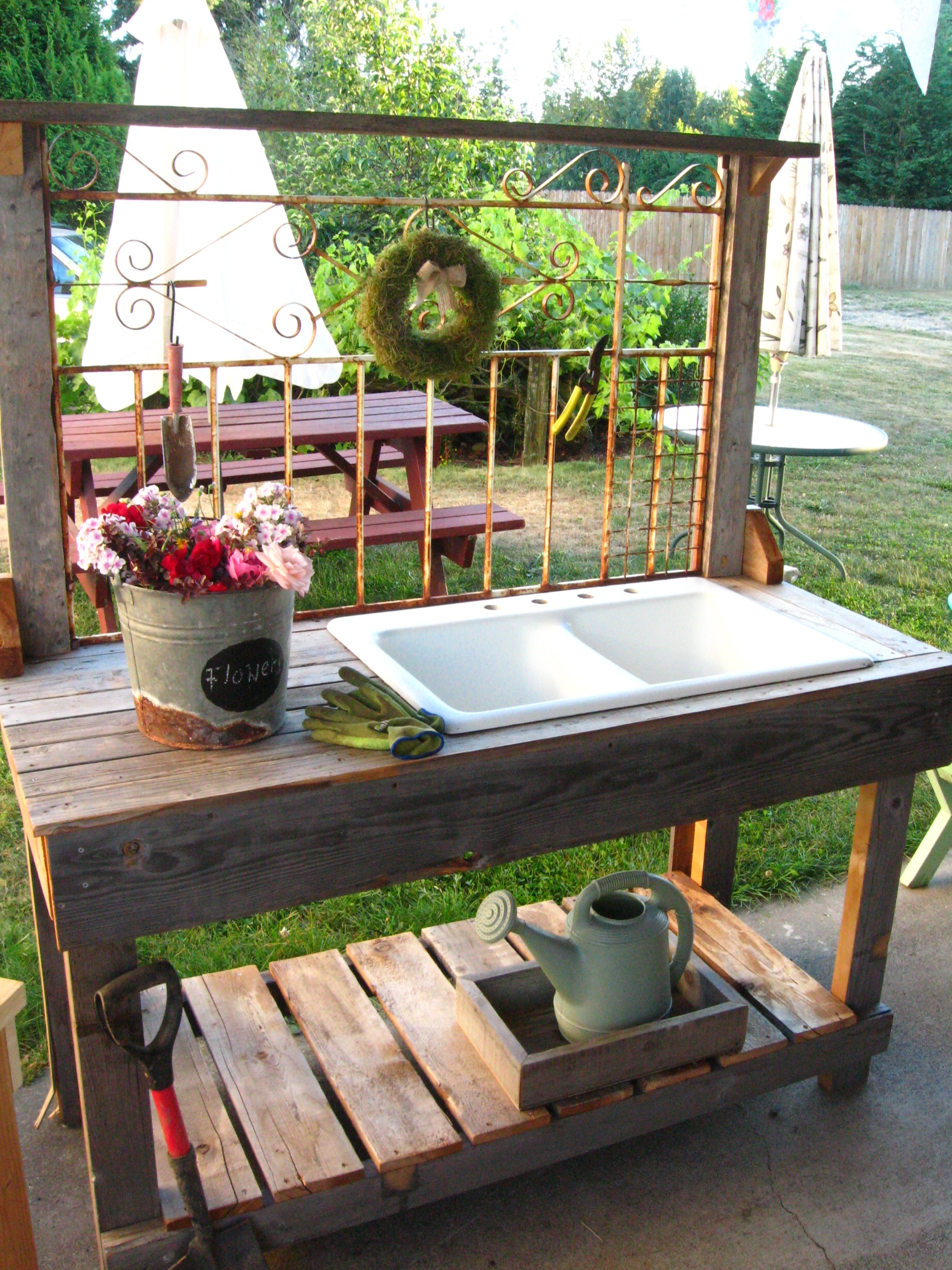 Iron Wrought Large Sink PB Dream Garden Woodworks