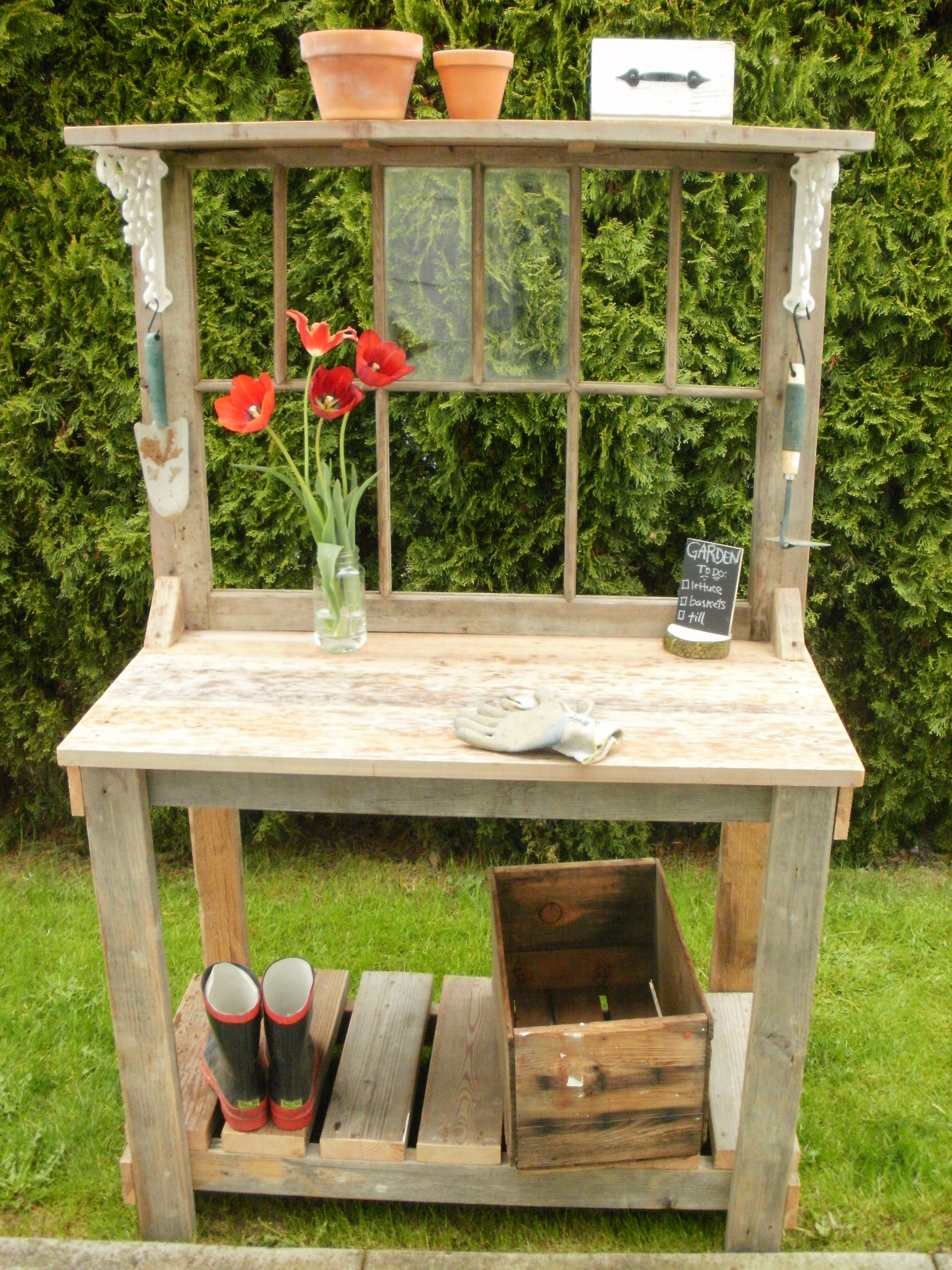 Rustic Potting Bench with window