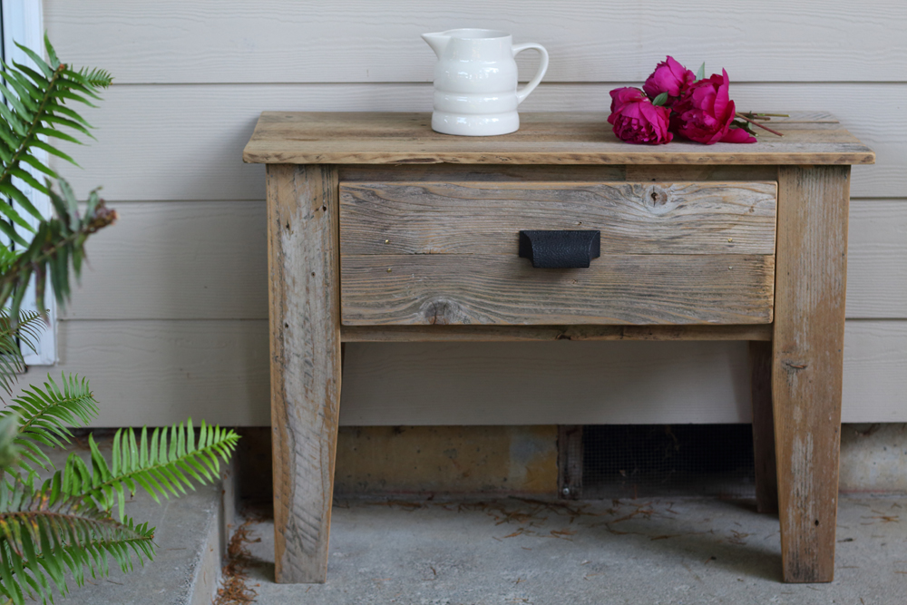 rustic end table with drawer